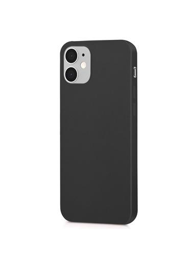 Microsonic Matte Silicone Apple iPhone 12 Kılıf Siyah